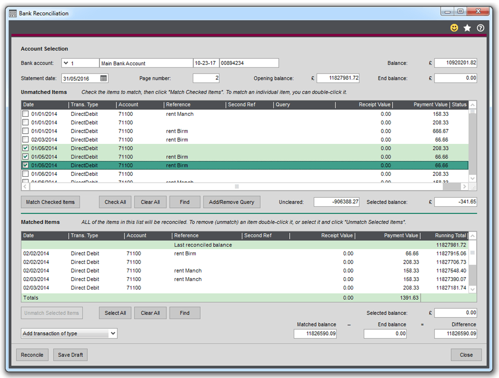 Sage 200 2016 New Features Bank Reconciliation