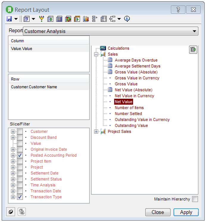 Sage 200 BI Report Layout tool