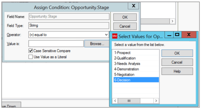 Infor CRM Condition Value