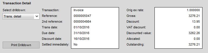 Sage 200 Transaction Detail