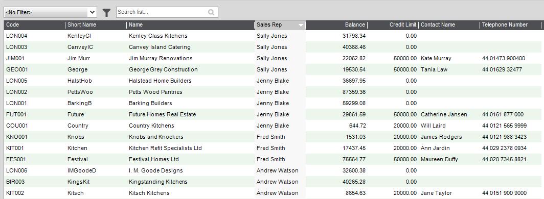 Analysis Codes on List Views