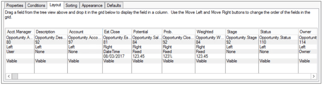 Infor CRM Group Layout