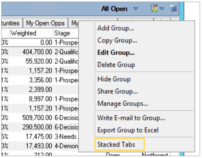 Infor CRM Groups Stocked Tabs