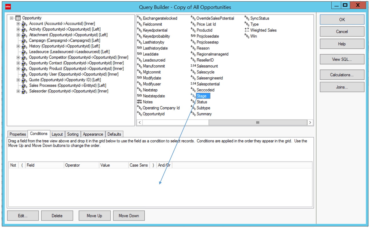 Infor CRM Query Builder Conditions