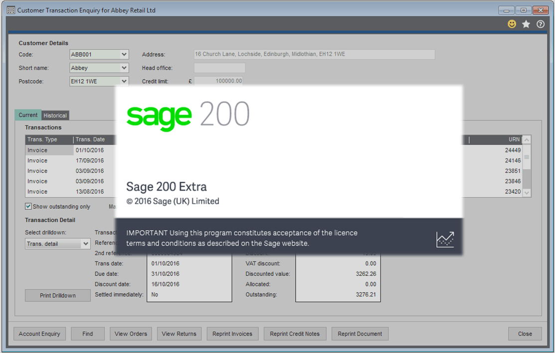 Sage 200 Transaction Enquiries
