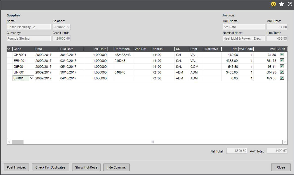Sage 200c Rapid Purchase Invoice