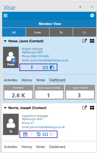 important Outlook CRM information about the contact from within Outlook