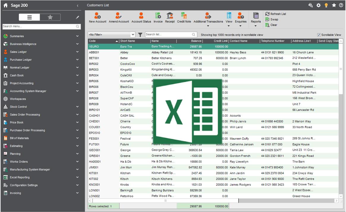 Sage Excel Integration