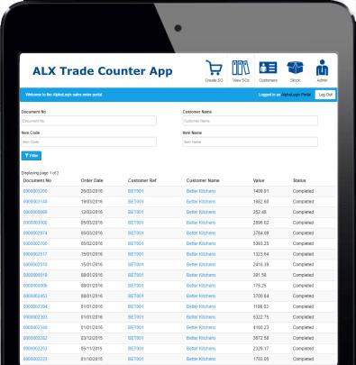 Sage Trade Counter App Ipad