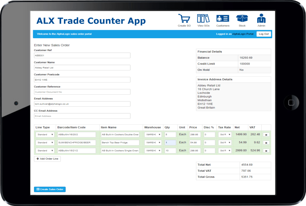 Sage 200 Trade Counter App Ipad