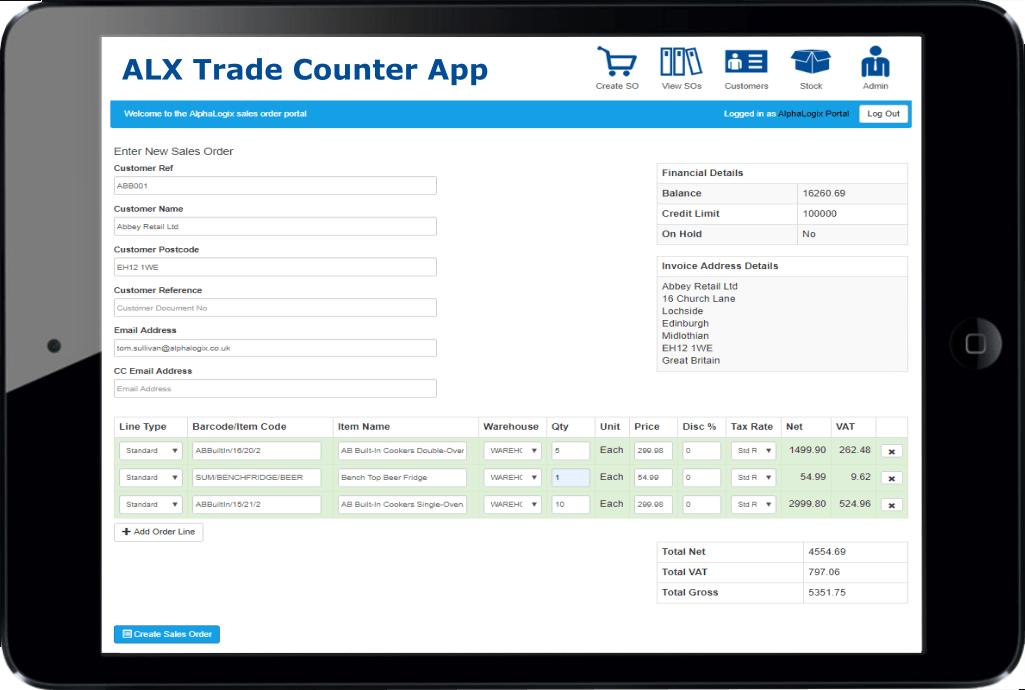 Sage 200 Trade Counter App